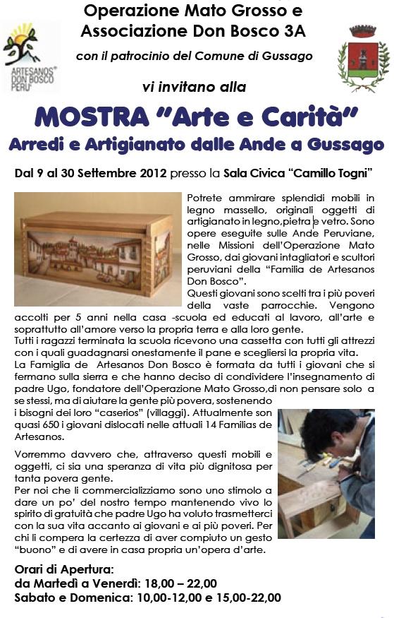 Dal 9 al 30 settembre arte e carit mostra di arredi ed artigianato dalle ande a gussago - Operazione mato grosso mobili ...
