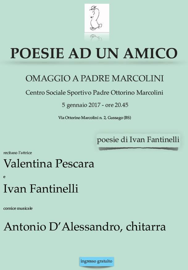 """Popolare Giovedì 5 gennaio """"Poesie ad un amico, omaggio a padre Marcolini  VT84"""