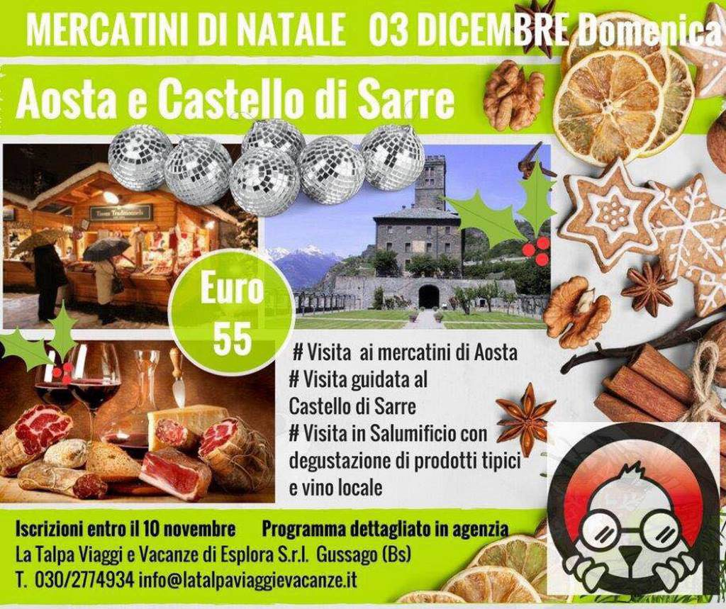 Gita mercatini Aosta e Castello Sarre dicembre 2017