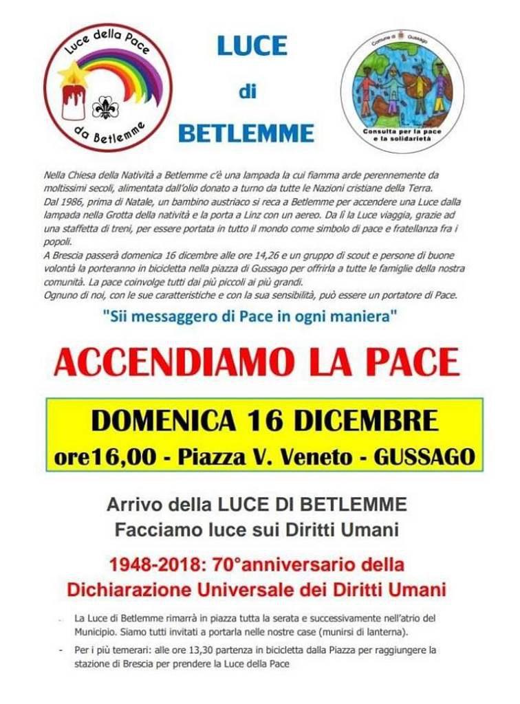 Accendiamo luce Pace dicembre 2018