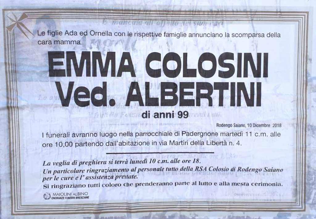 Necrologio Emma Colosini 2018
