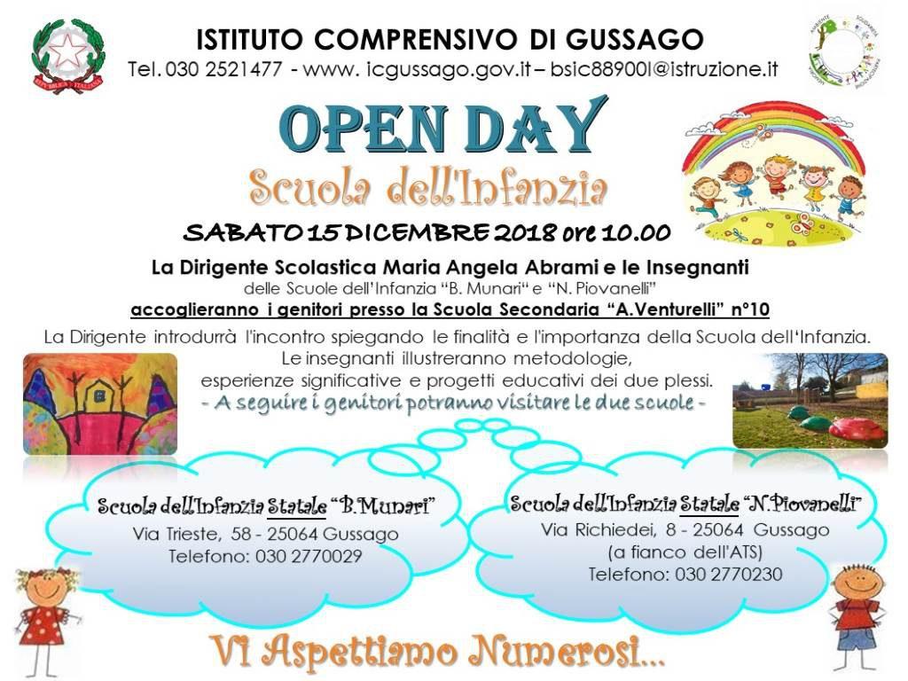 Open Day scuola infanzia statale dicembre 2018
