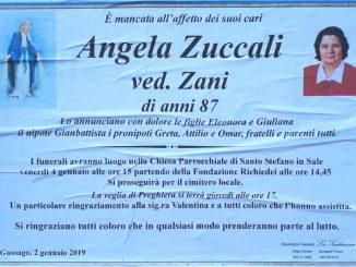 Necrologio Angela Zuccali 2019