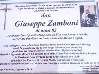 Necrologio don Giuseppe Zamboni 2019