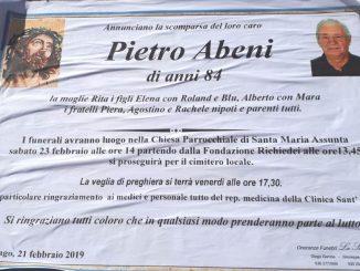 Necrologio Pietro Abeni 2019