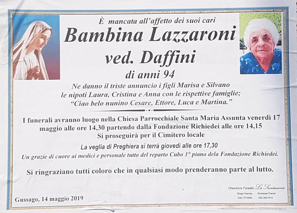Necrologio Bambina Lazzaroni 2019
